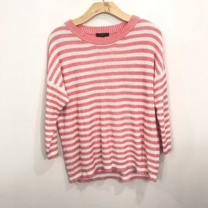 {J Crew} Knit Pink And White Striped Sweater